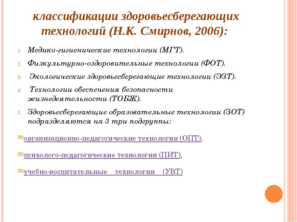 классификации здоровьесберегающих технологий (Н.К. Смирнов, 2006): Медико-гиг...