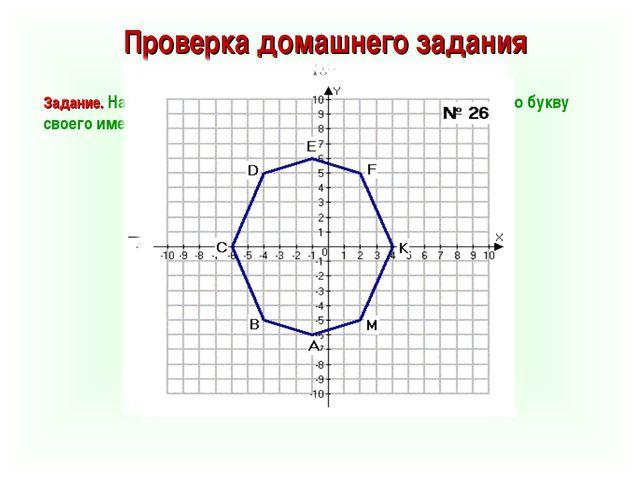 Проверка домашнего задания Задание. На координатной плоскости постройте фигур...