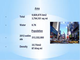 Area - Total 9,826,675km2 3,794,101sqmi - Water 6.76 Population -