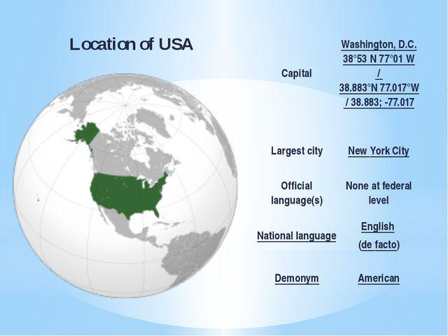 Location of USA Capital Washington, D.C. 38°53′N 77°01′W/38.883°N 77.017°W...