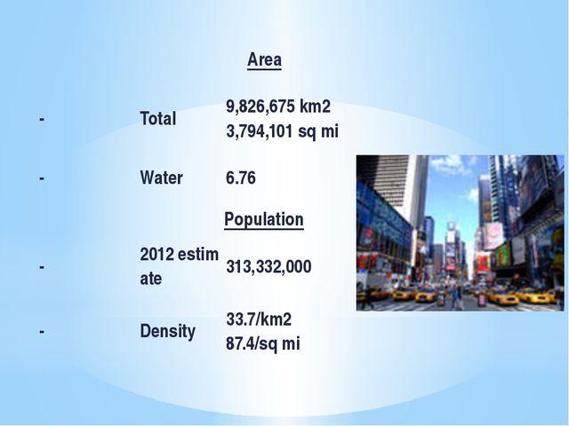 Area - Total 9,826,675km2 3,794,101sqmi - Water 6.76 Population -...