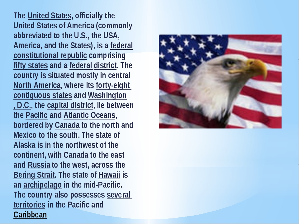 The United States, officially the United States of America (commonly abbrevia...
