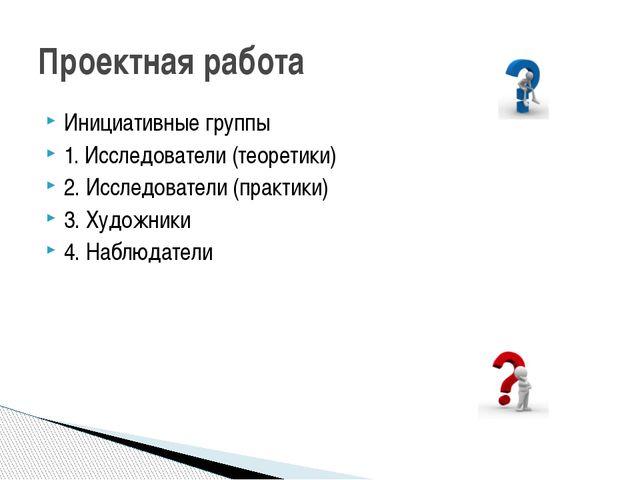 Инициативные группы 1. Исследователи (теоретики) 2. Исследователи (практики)...