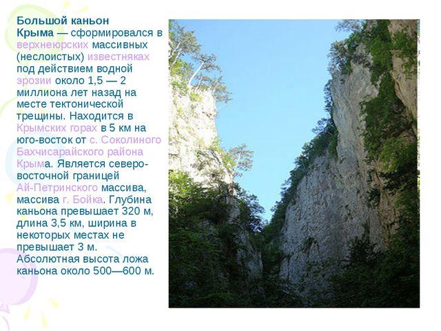 Большой каньон Крыма— сформировался в верхнеюрских массивных (неслоистых) из...
