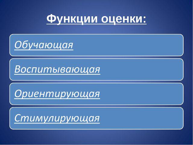 Функции оценки: