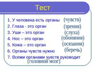 Тест 1. У человека есть органы 2. Глаза - это орган 3. Уши – это орган 4. Но