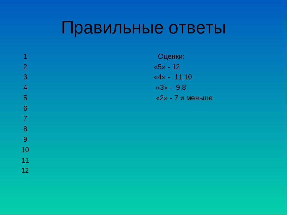 Правильные ответы 1 Оценки: 2 «5» - 12 3 «4» - 11,10 4 «3» - 9,8 5 «2» - 7 и...