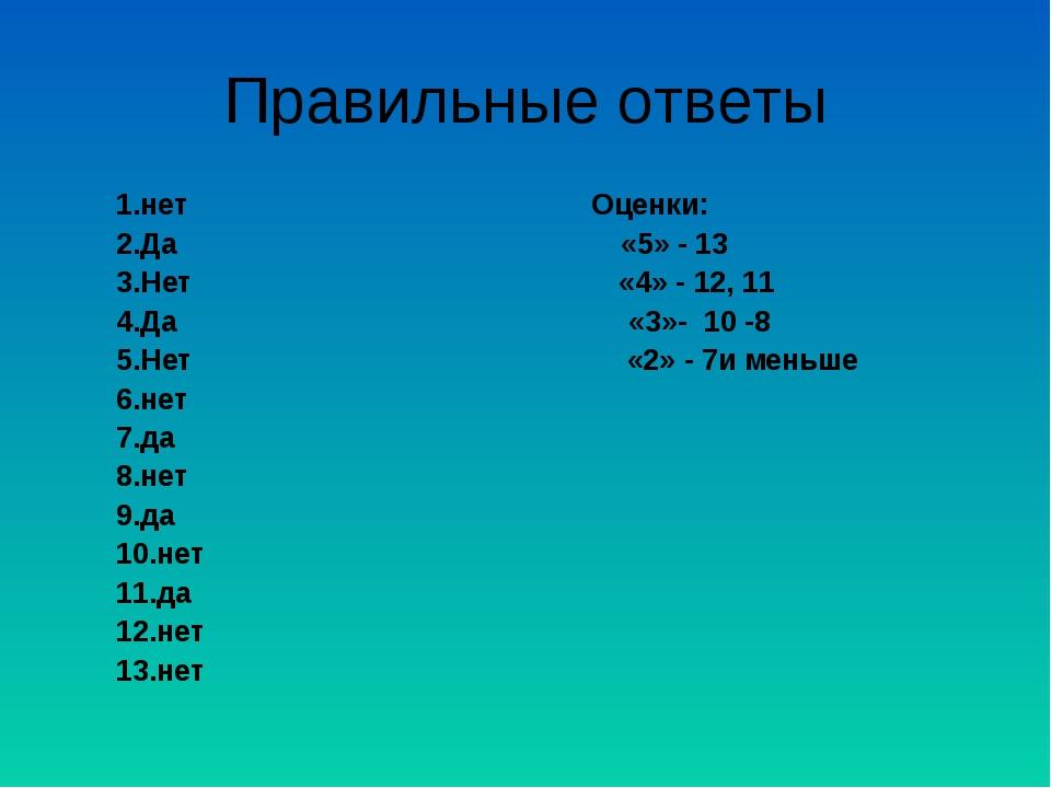 Правильные ответы 1.нет Оценки: 2.Да «5» - 13 3.Нет «4» - 12, 11 4.Да «3»- 10...