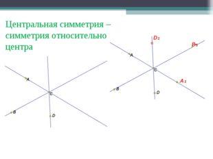 В D А1 В1 D1 Центральная симметрия – симметрия относительно центра