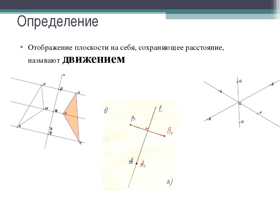 Определение Отображение плоскости на себя, сохраняющее расстояние, называют д...