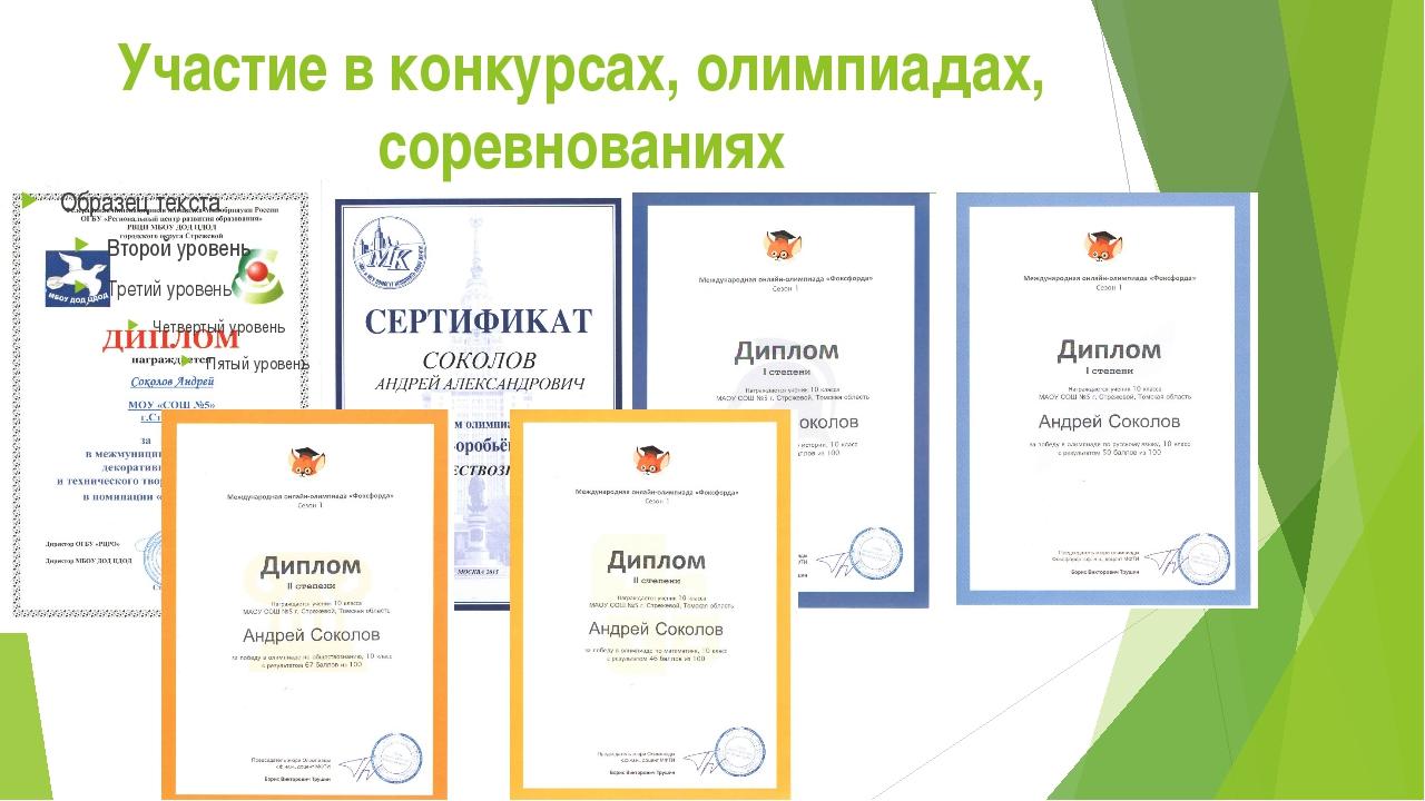 Участие в конкурсах, олимпиадах, соревнованиях