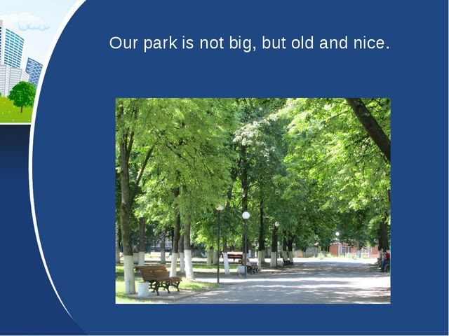 Our park is not big, but old and nice.