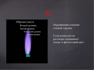 К+ Окрашивание пламени газовой горелки. Соли калия или их растворы окрашивают