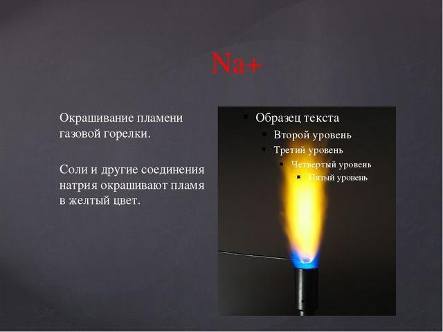 Na+ Окрашивание пламени газовой горелки. Соли и другие соединения натрия окра...