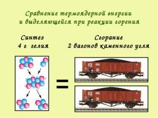 = Синтез 4 г гелия Сгорание 2 вагонов каменного угля Сравнение термоядерной э