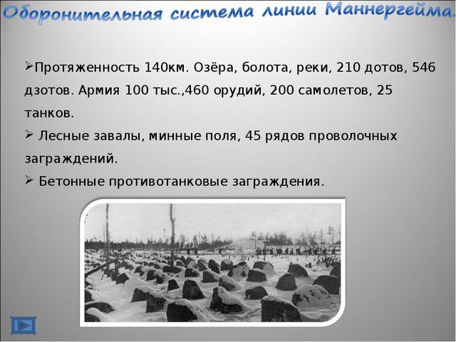 Протяженность 140км. Озёра, болота, реки, 210 дотов, 546 дзотов. Армия 100 ты...