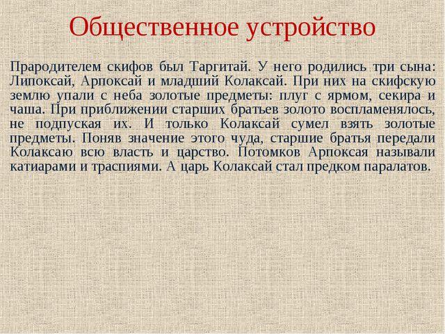 Общественное устройство Прародителем скифов был Таргитай. У него родились три...