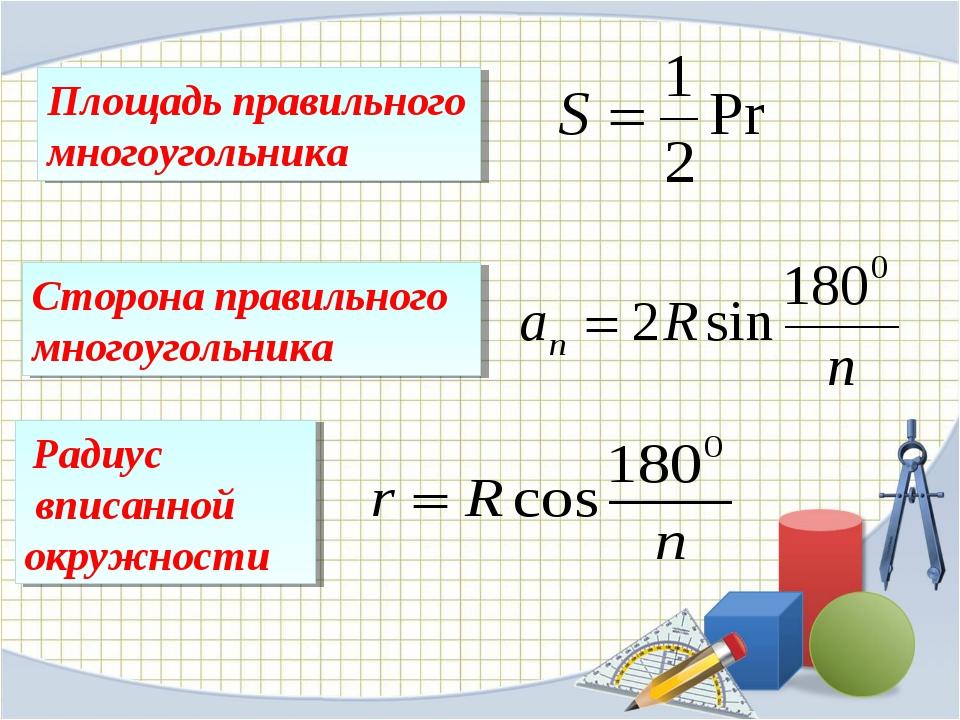 Площадь правильного многоугольника Сторона правильного многоугольника Радиус...
