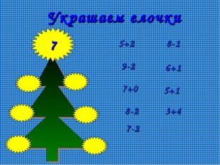 7 Украшаем елочки 6+1 5+2 3+4 9-2 8-1 7+0 8-2 5+1 7-2