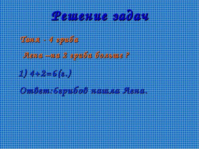 Решение задач Таня - 4 гриба Лена –на 2 гриба больше ? 1) 4+2=6(г.) Ответ:6гр...