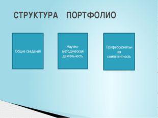 СТРУКТУРА ПОРТФОЛИО Общие сведения Научно-методическая деятельность Професси