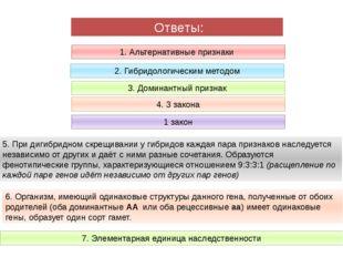 1. Альтернативные признаки 2. Гибридологическим методом 3. Доминантный призн