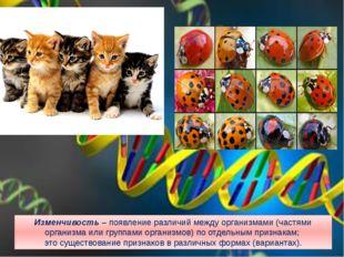 Изменчивость – появление различий между организмами (частями организма или гр