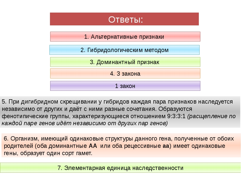 1. Альтернативные признаки 2. Гибридологическим методом 3. Доминантный призн...