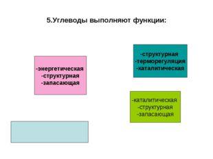 5.Углеводы выполняют функции: -энергетическая -структурная -запасающая -струк