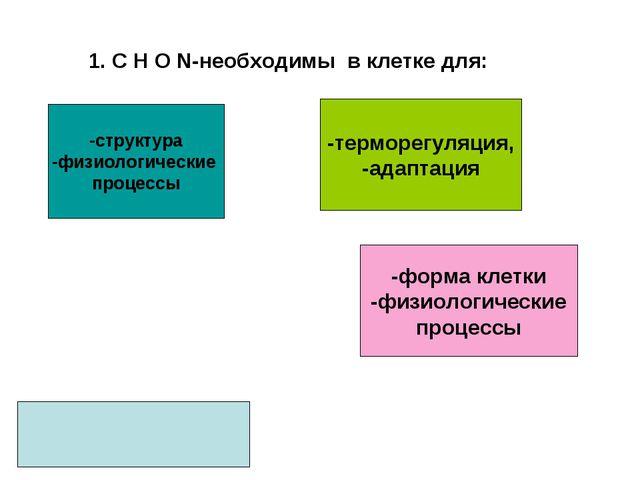 1. С Н О N-необходимы в клетке для: -структура -физиологические процессы -фор...