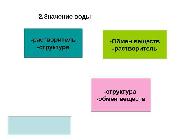 2.Значение воды: -Обмен веществ -растворитель -структура -обмен веществ -раст...