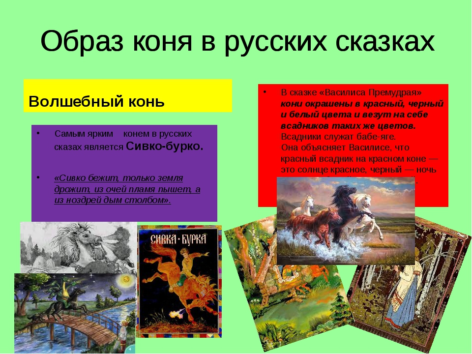 Образ коня в русских сказках Волшебный конь Самым ярким конем врусских сказа...