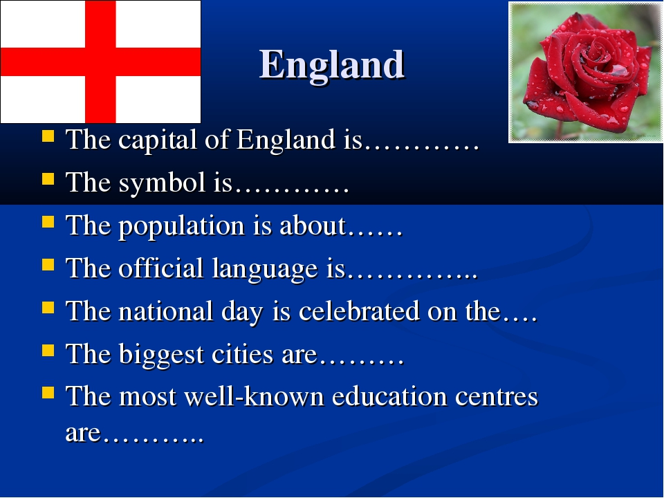 England The capital of England is………… The symbol is………… The population is abo...