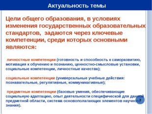 * Актуальность темы Цели общего образования, в условиях изменения государстве