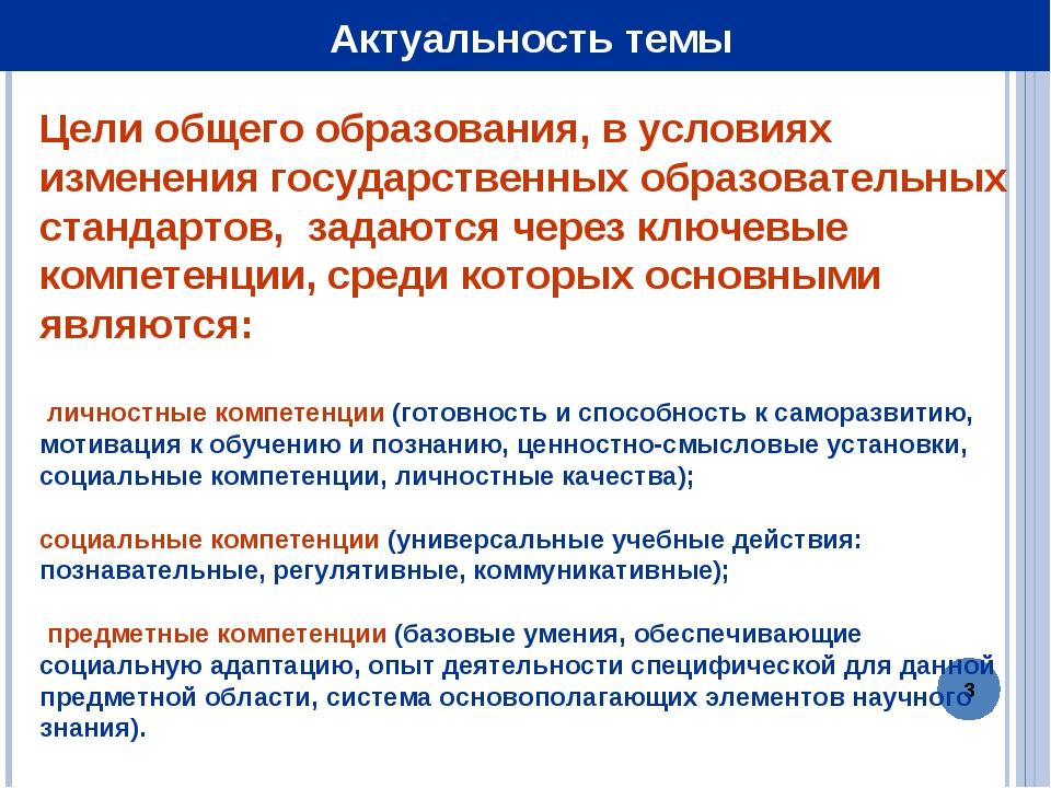 * Актуальность темы Цели общего образования, в условиях изменения государстве...