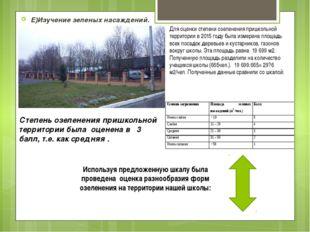 Е)Изучение зеленых насаждений. Для оценки степени озеленения пришкольной терр