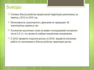 Выводы: Степень благоустройства пришкольной территории увеличилась за период