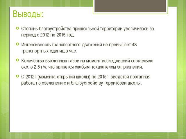 Выводы: Степень благоустройства пришкольной территории увеличилась за период...