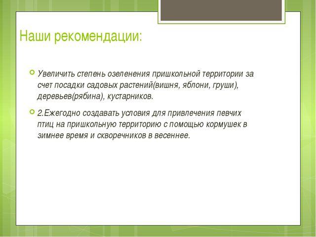Наши рекомендации: Увеличить степень озеленения пришкольной территории за сче...