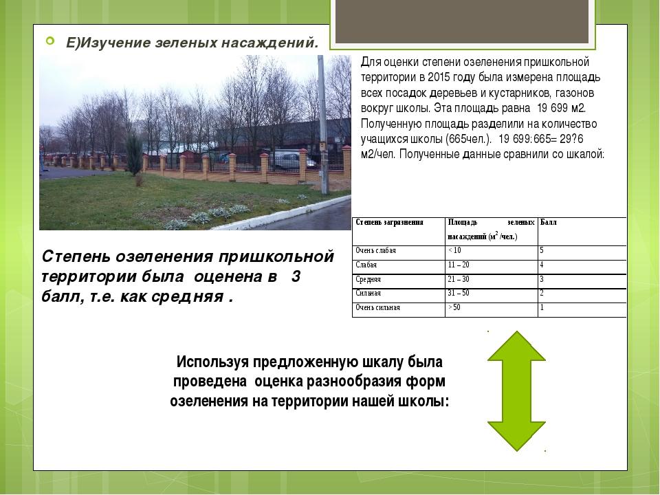 Е)Изучение зеленых насаждений. Для оценки степени озеленения пришкольной терр...