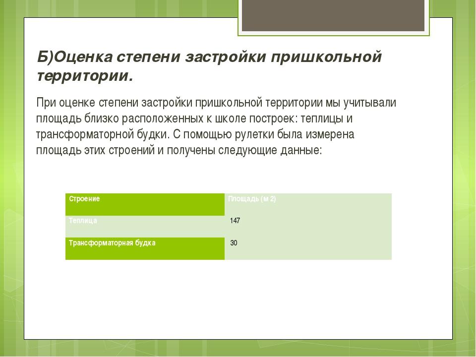 Б)Оценка степени застройки пришкольной территории. При оценке степени застрой...