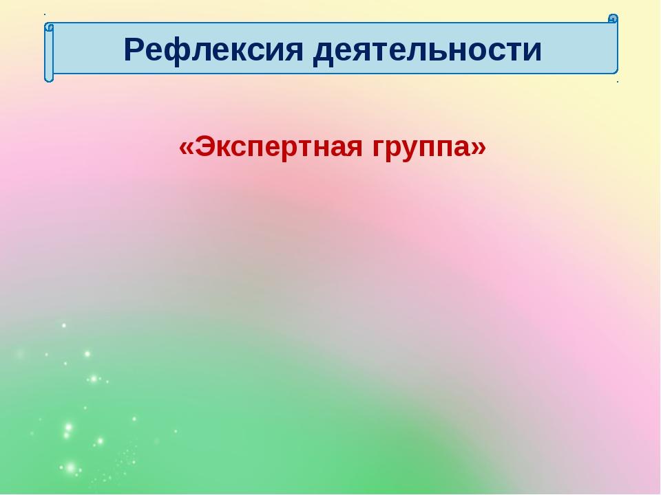 «Экспертная группа» Рефлексия деятельности