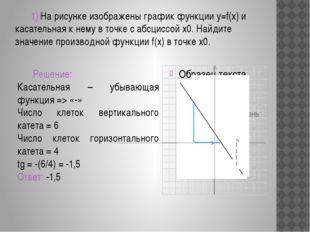 2) На рисунке изображены график функции y=f(x) и касательная к нему в точке
