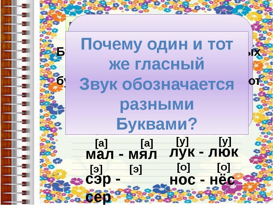 мал - мял [а] [а] сэр - сер [э] [э] лук - люк нос - нёс [у] [у] [о] [о] Поче...