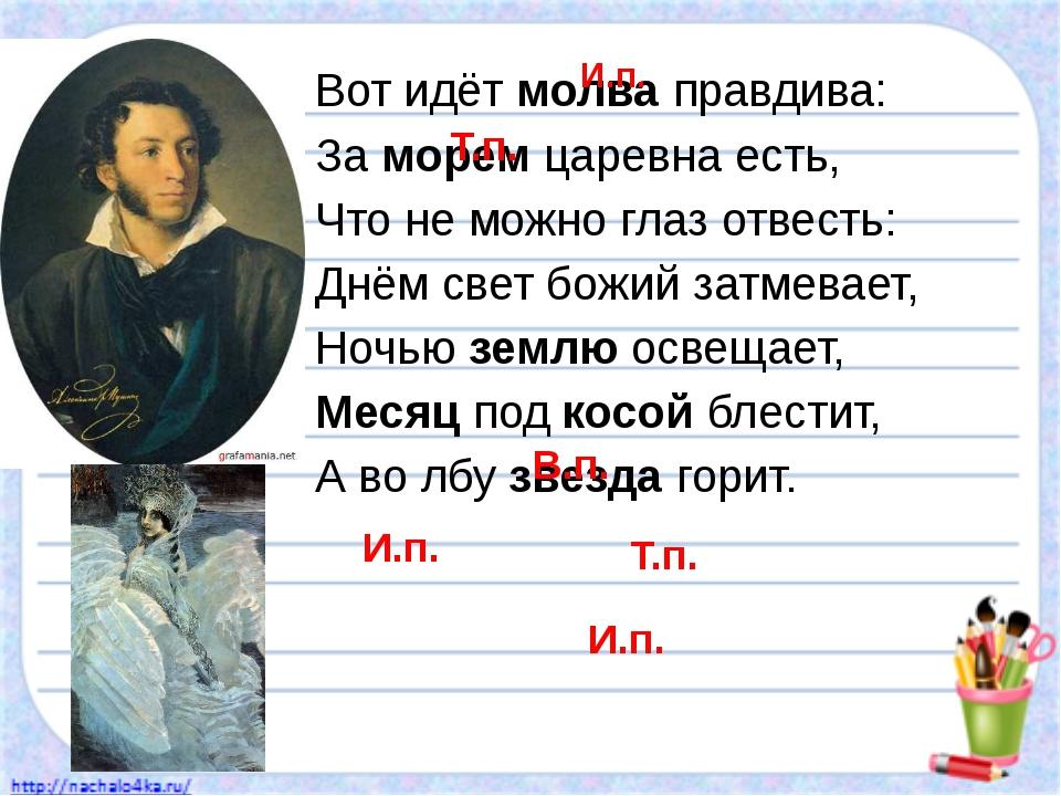 Вот идёт молва правдива: За морем царевна есть, Что не можно глаз отвесть: Д...