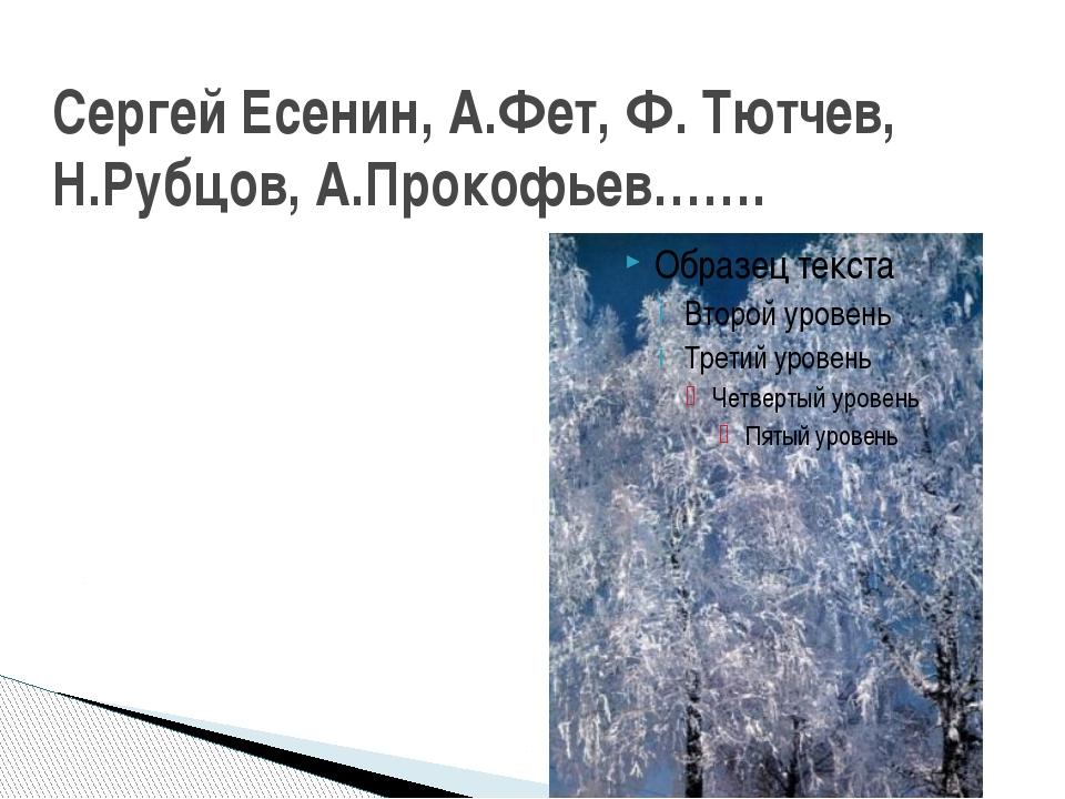 Сергей Есенин, А.Фет, Ф. Тютчев, Н.Рубцов, А.Прокофьев…….