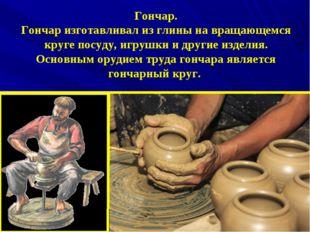 Гончар. Гончар изготавливал из глины на вращающемся круге посуду, игрушки и