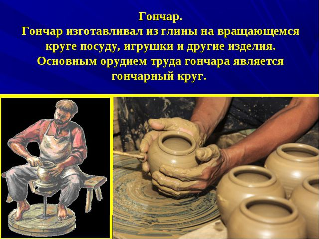 Гончар. Гончар изготавливал из глины на вращающемся круге посуду, игрушки и...
