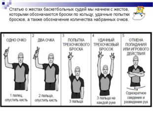 Статью о жестах баскетбольных судей мы начнем с жестов, которыми обозначаются