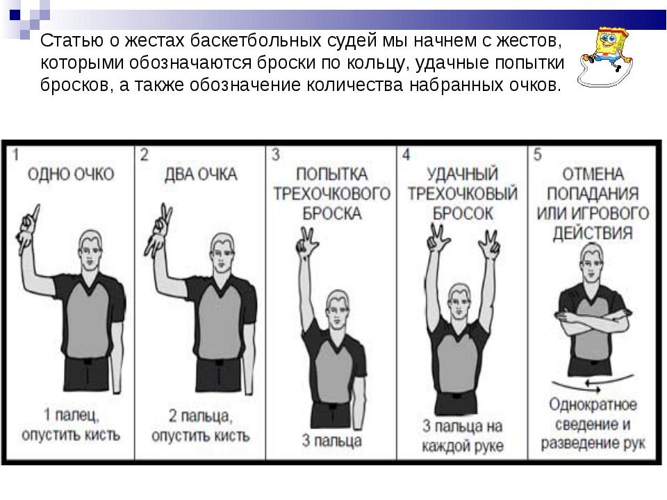 Статью о жестах баскетбольных судей мы начнем с жестов, которыми обозначаются...